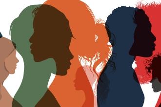 Menschenschatten überlappen sich in bunten Farben