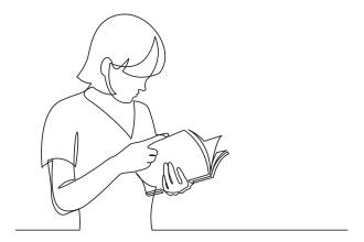 Bleistiftzeichnung einer Frau, die in einer Broschüre blättert